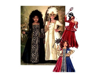 Butterick 4887 Girls' Masquerade Dress with Full Length Gathered Skirt, Uncut, Factory Folded Sewing Pattern Size 6-8