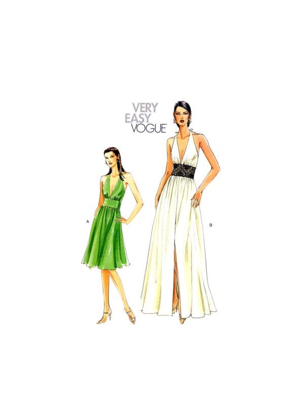07 Vogue 8240 Halter Neck Evening/Bridal/ Dress with Deep | Etsy