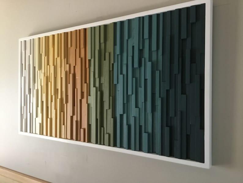 Wood Wall Art Modern Wood Art Wood Wall Sculpture Wall Hanging Hospitality Decor Dimensional Wood Art Ombre Wall Art Wall Decor