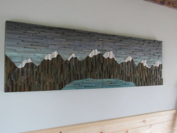 Mountain range art-wood wall art-cabin wall art lodge art   Etsy
