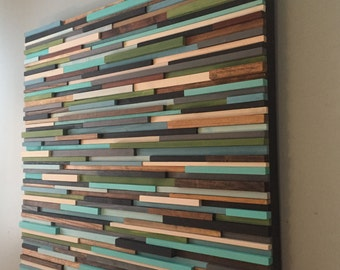 Wood wall art- reclaimed wall art - modern wall art-
