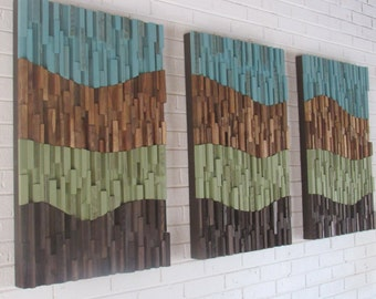 Wall art-wood wall art- landscape abstract- organic - large wood wall art -reclaimed wood wall art-