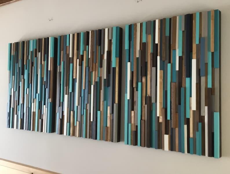 Wood Wall Art Blues And Brown Wood Wall Sculpture Modern Rustic Wood Art Dimensional Wood Art 3 D Art