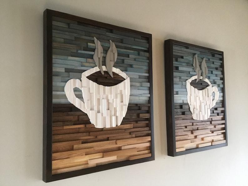 Wood Wall Art Cafe Art Coffee Art Modern Wood Art Hospitality Art Kitchen Decor Reclaimed Wood Art