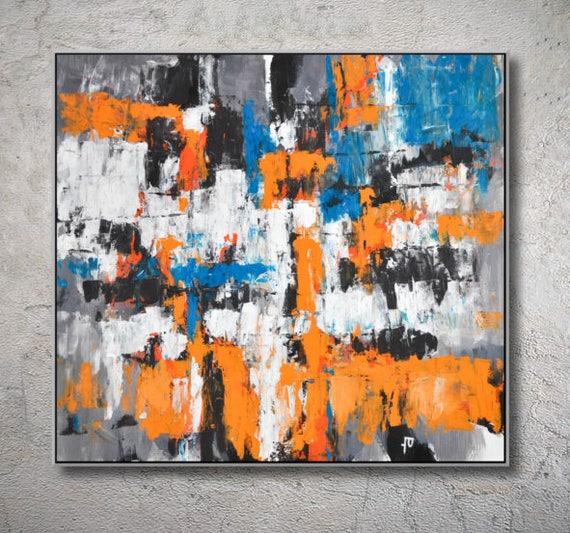 Original Abstract Art Painting On Canvas Contemporary Art Orange Black Canvas Painting Modiz Art