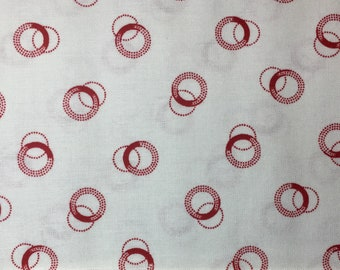 Redwork Meets Bluework Red Circles RJR 1930's Reproduction Fabric Hoffman