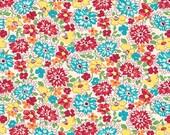 Feedsack Red Aqua Multicolored Wildflowers 1930 s Reproduction Fabric Nana Mae 4 of Henry Glass 9296-81