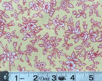 Simply Chic Red on Butter Yellow Toile Floral Quilt Fabric