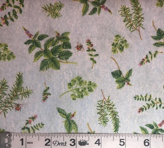 Jane Maday From The Garden Wilmington Prints Botanical Garden Herbs Vintage Retro Quilt Fabric