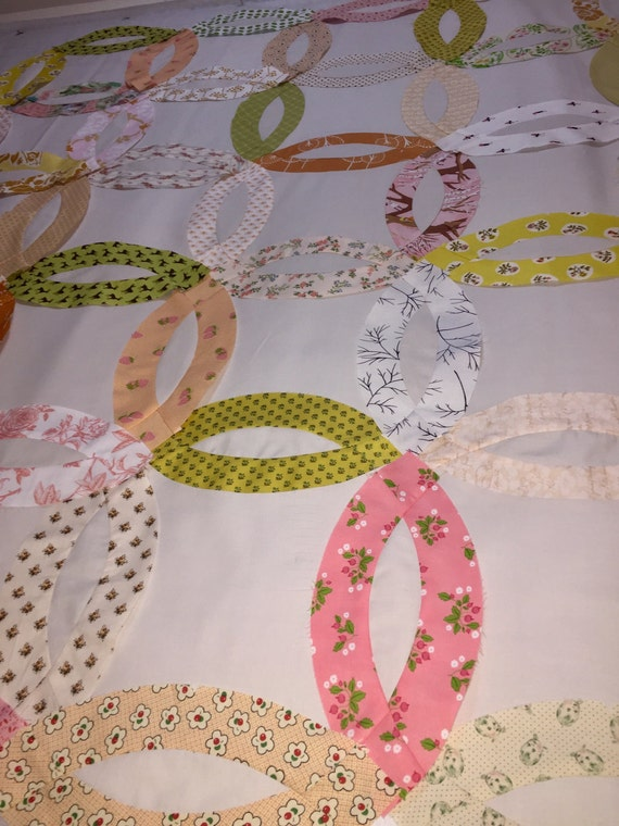 New Queen Quilt In A Box Double Wedding Ring Pre Cut Quilt Kit Watermelon Picnic