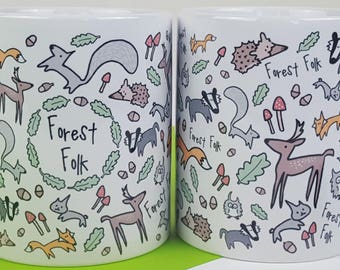 Forest Folk Mug - Illustrated Mug - Forest Animals - Woodland - Gift Idea - Animal Lover Gift - Gift for Her - Birthday Gift - Ceramic Mug