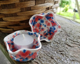 Hand thrown star shape tea light candle cups