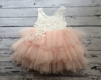 ba8aec6f5f4 Pink flower girl dress First birthday dress White lace infant dress Baby  flower girl Baby wedding dress Toddler party dress Boho Tulle tutu