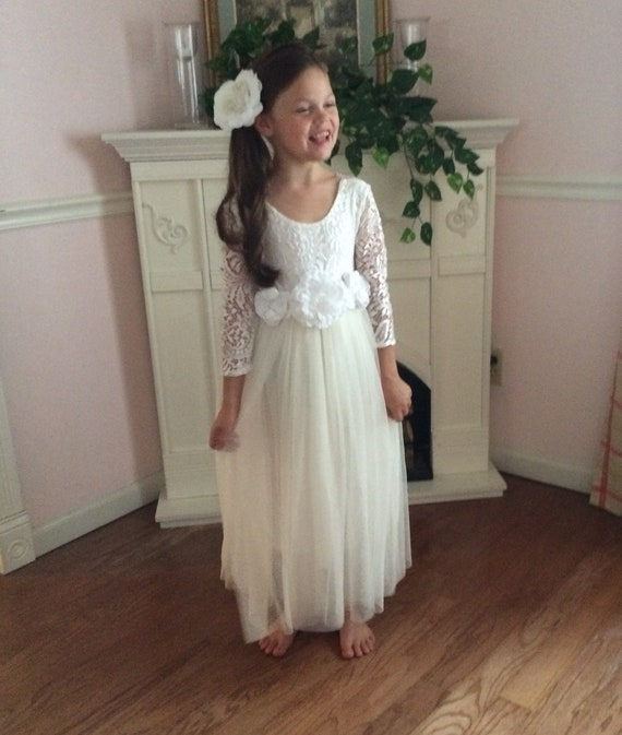 105a43298f3 Ivory flower girl dress Tulle long sleeve winter flower girl