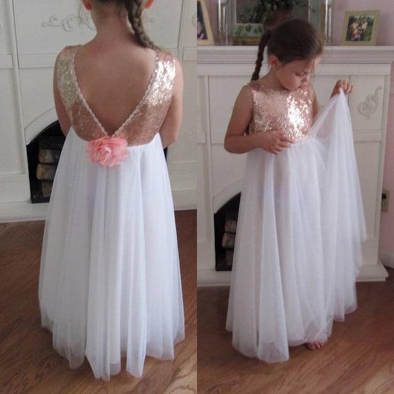 White Tulle Flower Girl Dress Ball Gown Rose Gold Sequin Dress Etsy