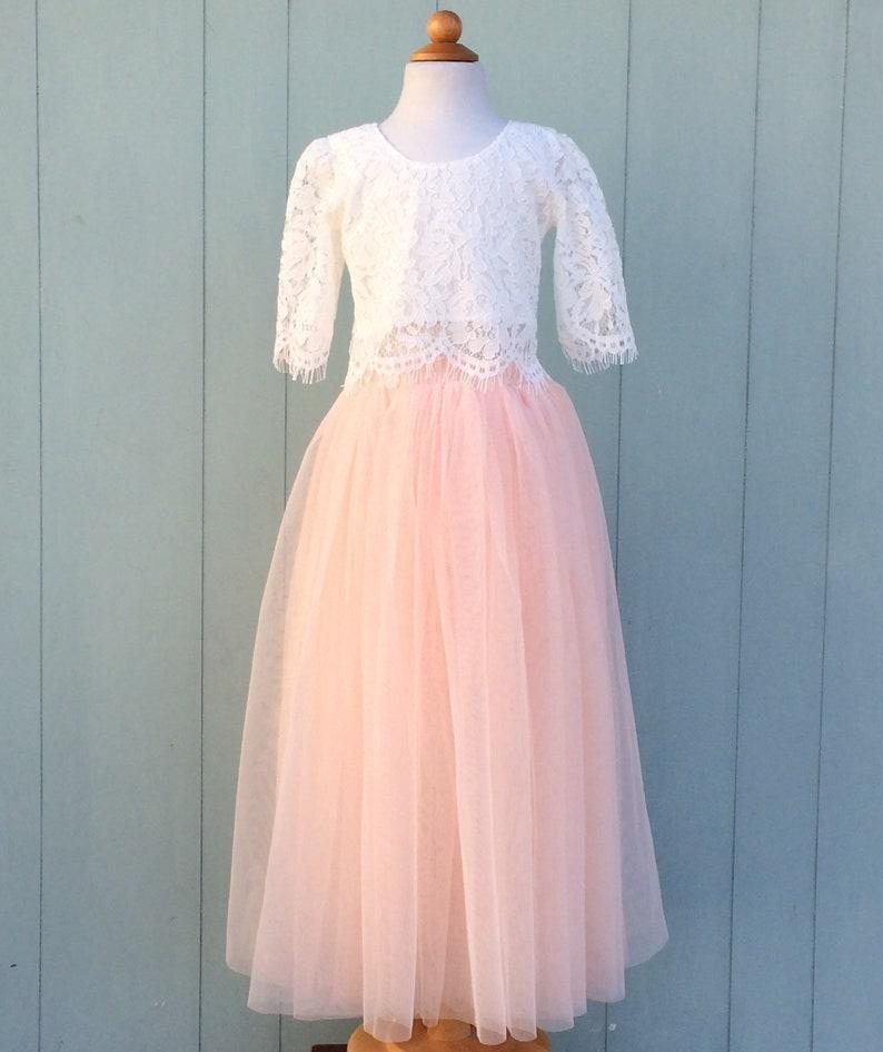 c67519ea8fb Robe de fille de fleur en tulle rose Blush dentelle fleur