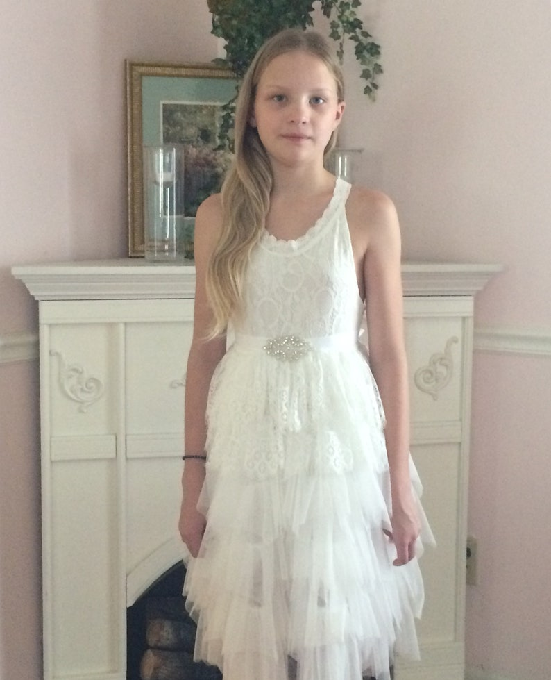 a408fd1f2a8 Lace flower girl dress White flower girl dress White tutu