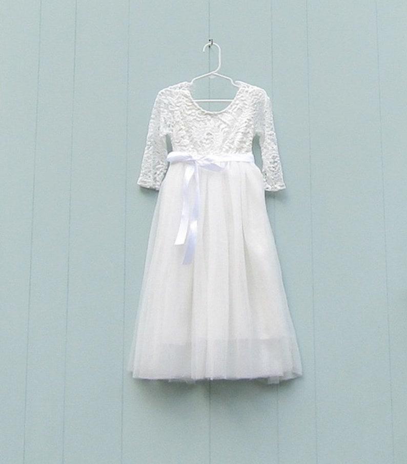 9bfeb0440 White lace flower girl dress Boho flower girl dress Tulle | Etsy