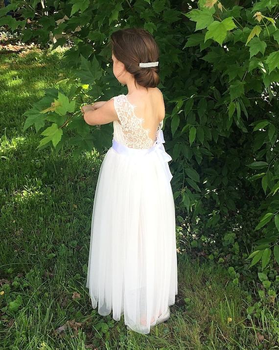 Bohemian Flower Girl Dress Girls Lace Dress Rustic Flower Girl Dress White Lace Tulle Dress Birthday Dress Communion Dress Beach Wedding
