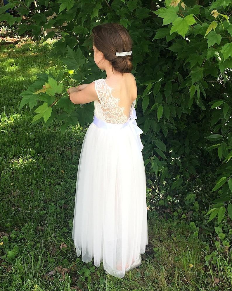 Bohemian flower girl dress White flower girl dresses Pink flower girl dress Ivory flower girl dress Lace tulle flower girl dress Birthday