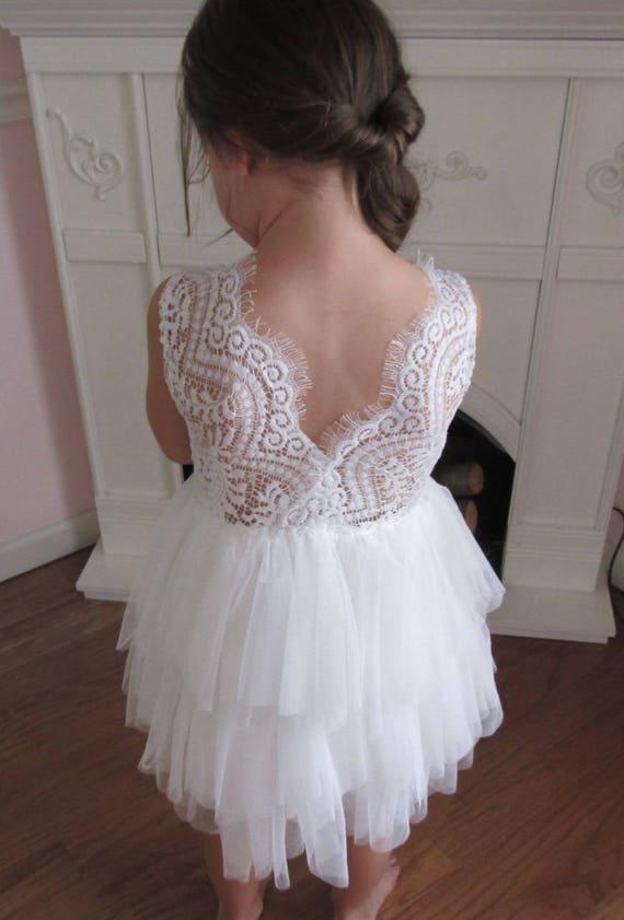 White Flower Girl Dress Lace Flower Girl Dress Tulle Flower Etsy