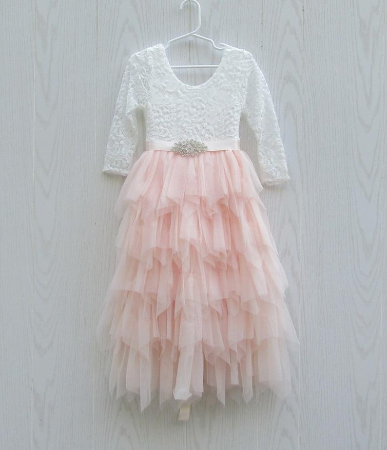 72db3cf6efc Robe de fille de fleur dentelle Blush rose fleur fille Robe