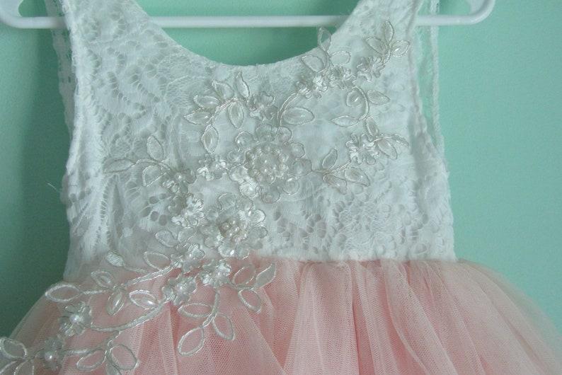 Pink flower girl dress First birthday dress White lace infant dress Baby flower girl Baby wedding dress Toddler party dress Boho Tulle tutu