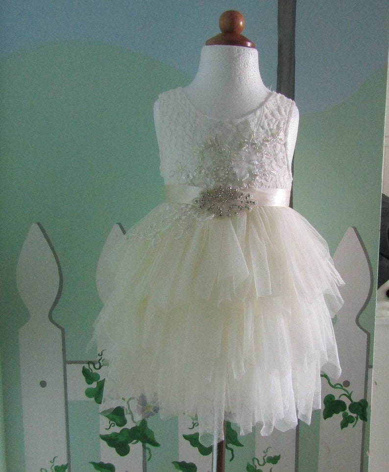 6fff5a837578 Ivory flower girl dress White lace Ivory tulle flowergirl