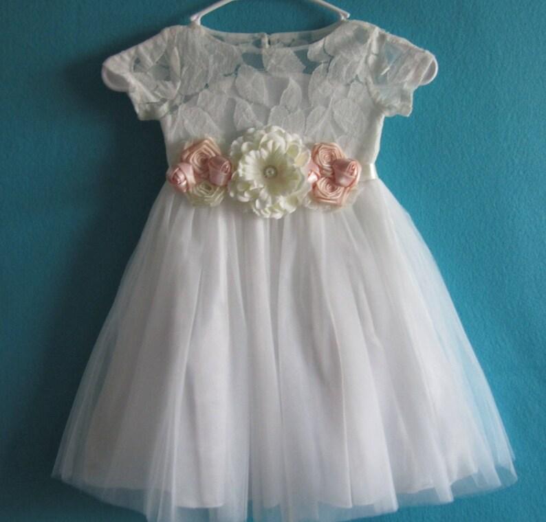 32065a68e1cf White lace flower girl dress Tulle flower girl dress lace   Etsy