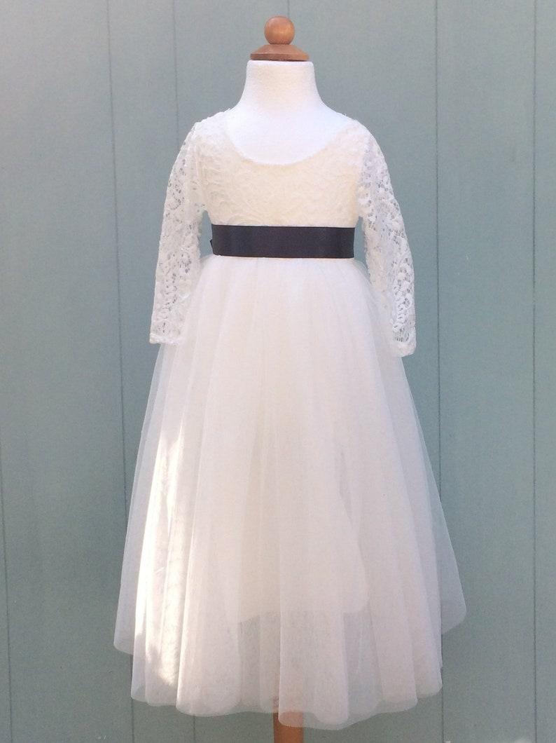 ab6af381943 White flower girl dress Tulle long sleeve flower girl dress