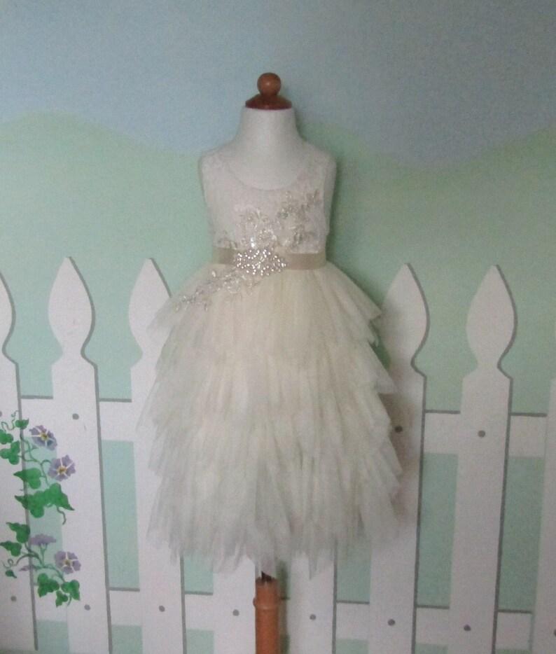 0780de66e796 Ivory tulle flower girl dress Lace infant flower girl dress