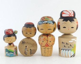 Vintage kokeshi dolls, set of 4