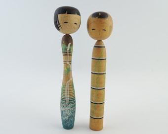 Vintage Japanese Kokeshi Dolls, Set of 2