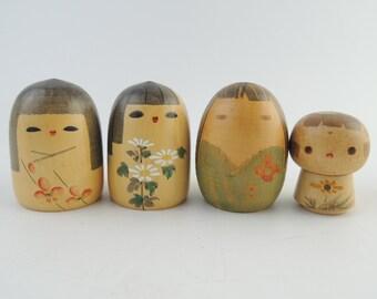 Vintage Japanese Kokeshi Dolls, set of 4