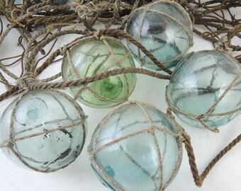 Set of 3, Japanese Vintage Glass Fishing Float, Glass ball, Hokkaido
