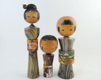 Vintage Japanese Kokeshi Dolls, set of 3
