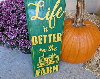 Life is Better On The Farm - Farm Sign - Green Tractor - Green Tractor Sign - Green Yellow Tractor - Boy Birthday Party - Tractor Birthday