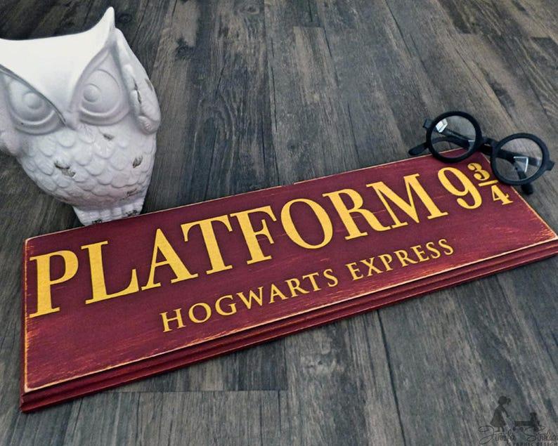 Platform 9 3 4 Harry Potter Hogwarts Wall Decor Wooden Etsy