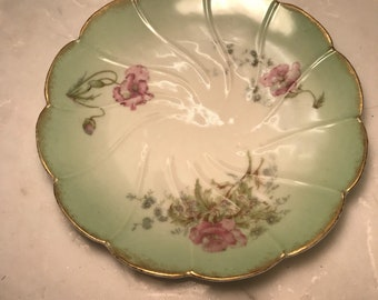 Limoges Green and Pink Flowered Dessert Plate