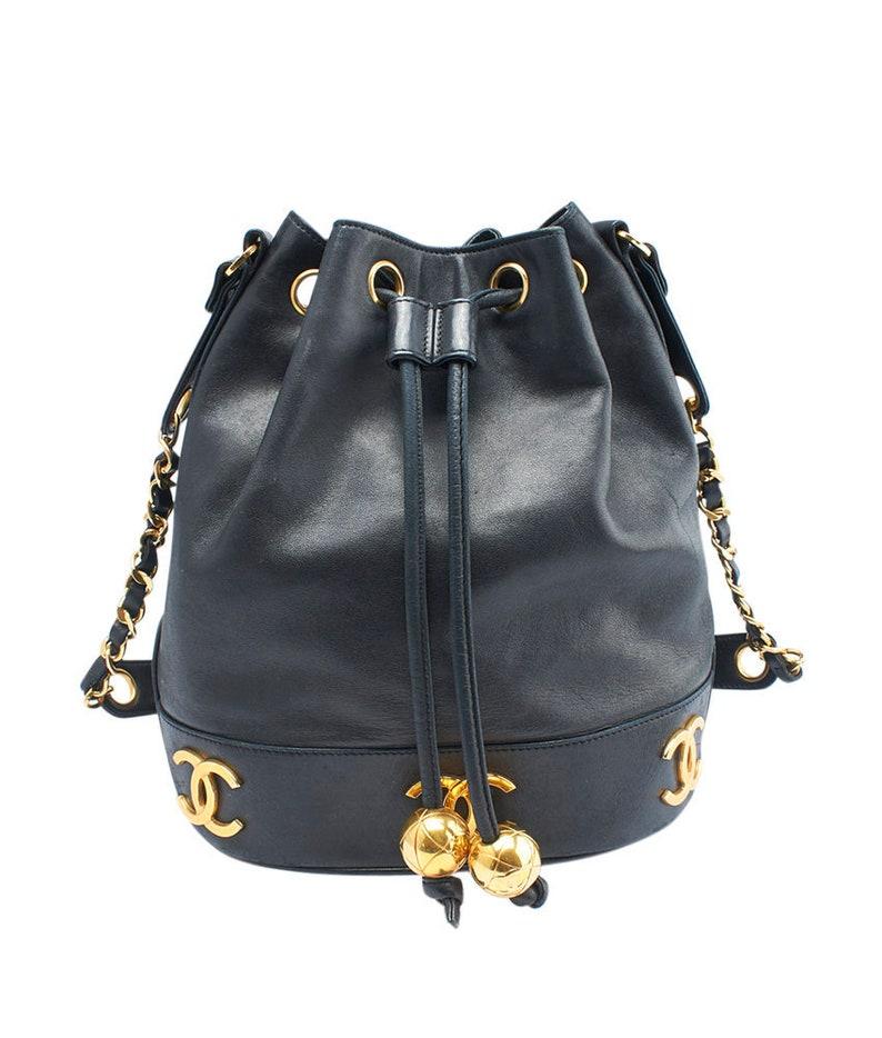 Chanel Vintage Bucket Black Lambskin Leather Satchel 143667  19b4a2b89088f