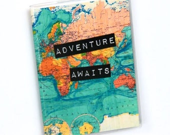 Passport Cover,  Passport Holder, Passport Case, Travel Gift Idea, Vintage World Map, Adventure Awaits, Wanderlust, Wedding Gift, Graduation