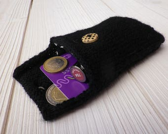 Small bag / pouch / case / Black wool, style romantic or vintage button aged with small black dots