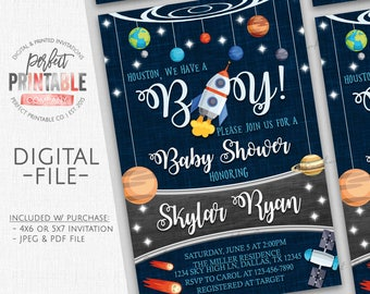 Outer Space Baby Shower Invitation, Planet Baby Shower Invitation, Outer Space Baby Sprinkle Invitation, It's a Boy, Space Invite, #586