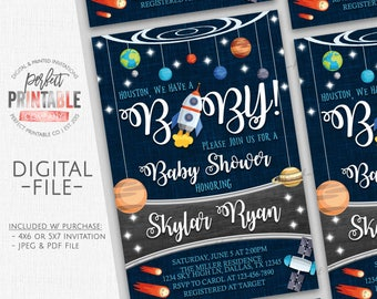 Outer Space Baby Shower Invitation, Planet Baby Shower Invitation, Outer Space Baby Sprinkle Invitation, Boy, Girl, Space Invite, #622