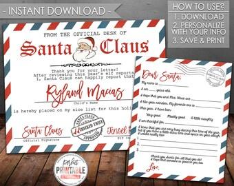Letter santa kit etsy santa letter kit christmas letter to santa christmas wish list santa claus certificate digital file instant download printable 723 spiritdancerdesigns Gallery