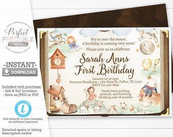 Mother Goose Birthday Invitation Nursery Rhyme Storybook Party Invite 888
