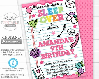Sleepover Invitation Slumber Party Birthday Pajama Printable Instant Download 782