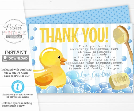 Instant Download Books for Baby Card in Blue and Yellow Duck Bring a Book Card Rubber Duck Book Request Card