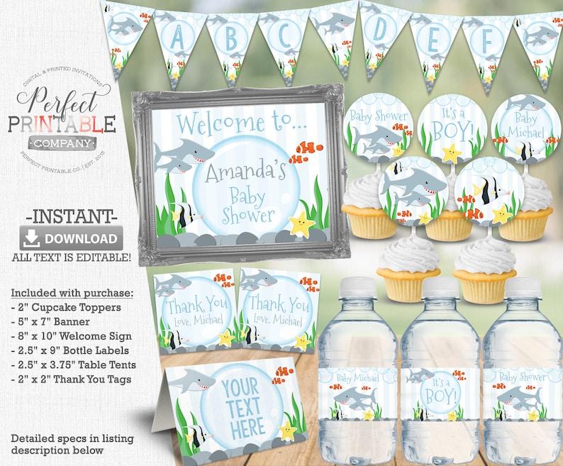 Shark Baby Shower Banner Instant Download Shark Banner Editable Printable #595 Shark Decorations Shark Happy Birthday Banner