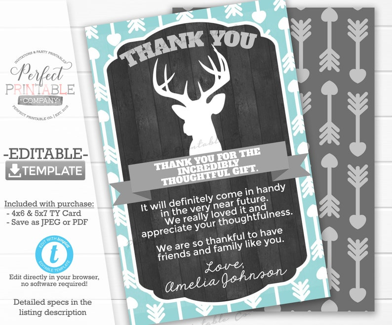 image relating to Deer Antler Printable Template identify Deer Antler Thank Oneself Card, Deer Antler Thank On your own Be aware, Child Shower, Birthday Occasion, Tribal Rustic, Teal Mint Grey Editable Template #953